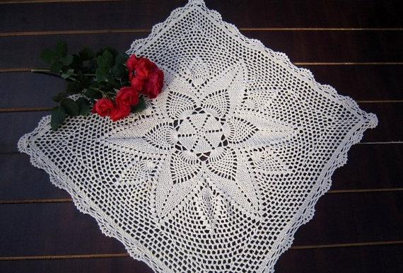 hand crochet pattern square coffee table topper, nightstand cover