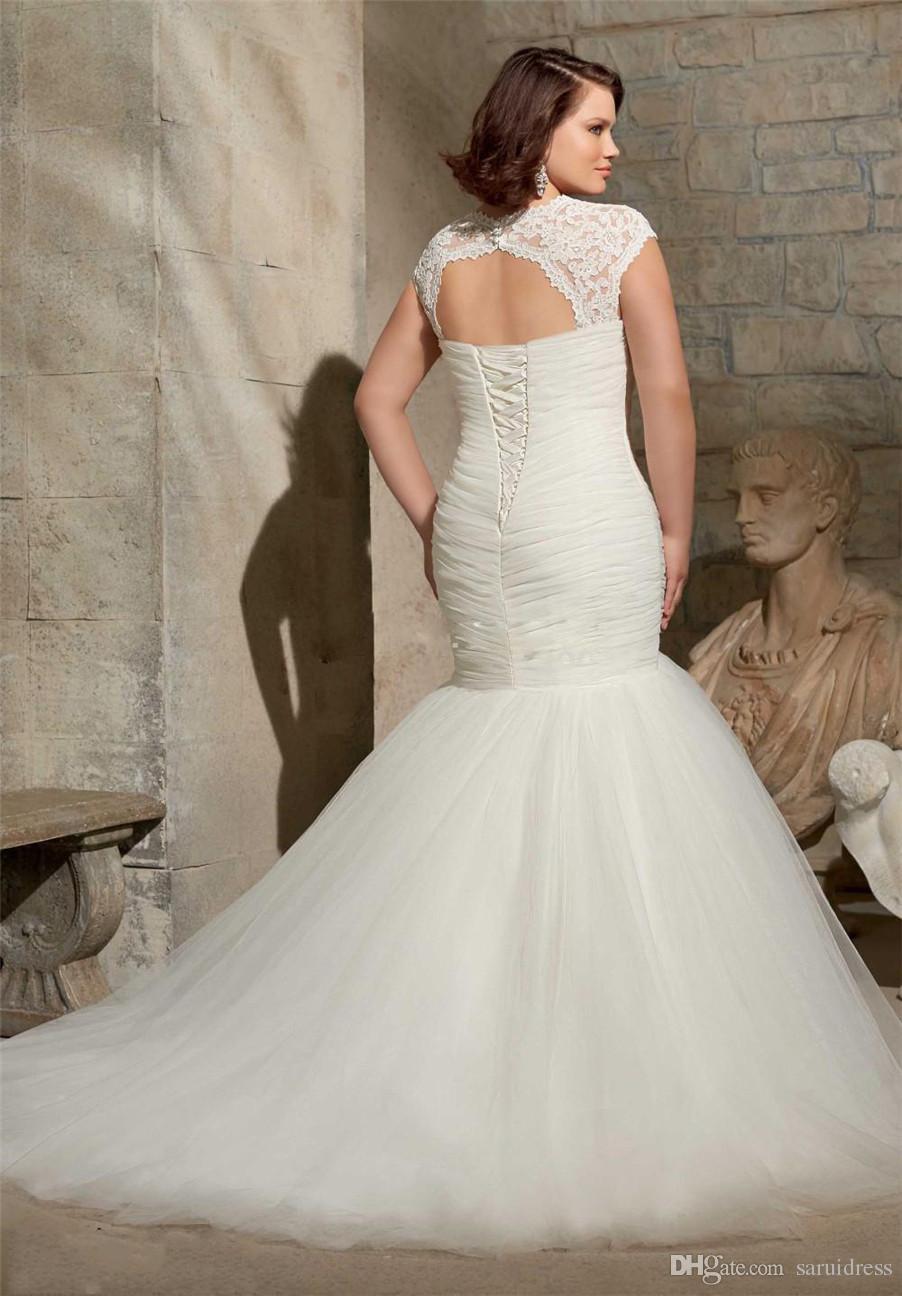 Lace Applique Pleats Cheap Trumpet Bridal Gowns Sweep Train Cap Sleeve Wedding Dress Vintage Plus Size Mermaid Wedding Gowns