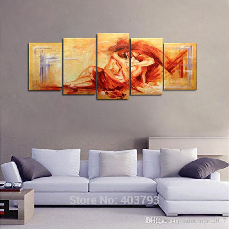 Hand Painted Yellow Modern Abstract Oil Paintings On Canvas Wall Art Sexy Naked Lover Nude Pictures For Home Decor