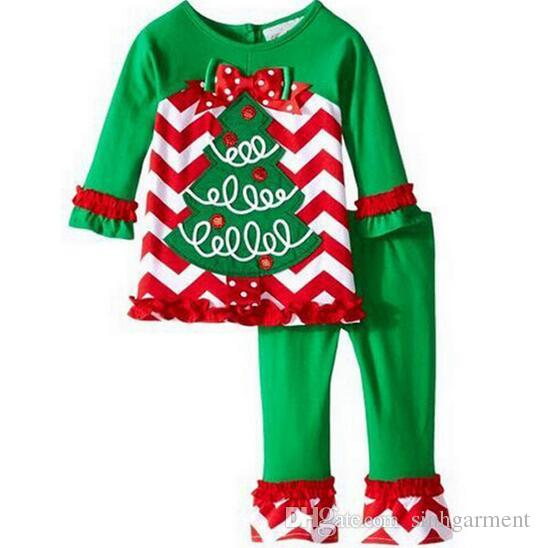 1a0a840ea02d 2016 New Deer Cartoon christmas pajamas set for Baby Kids Christmas Set  Clothes Tops Ruffle Pants