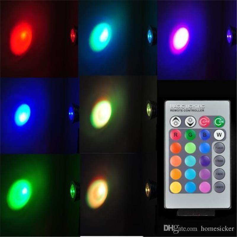 LED RGB Bombilla 3W que cambia 3W LED Proyectores RGB llevó la lámpara de la bombilla E27 GU10 E14 GU5.3 con 24 teclas de control remoto 85-265V