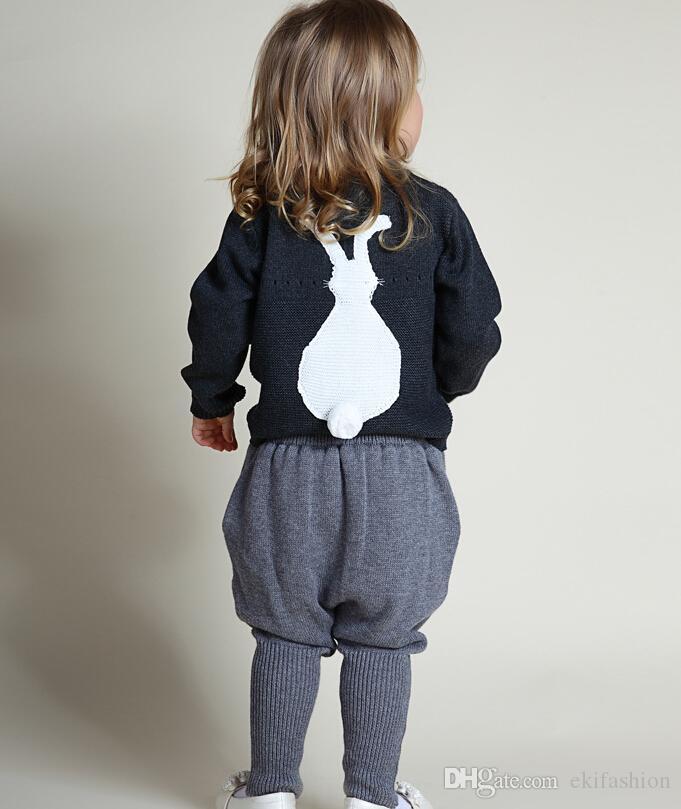 2017 kinder kleidung weiß grau baby pullover jacke baumwolle kaninchen lässig kinder gestrickte 1-5 jahre baby pullover kinder kleidung