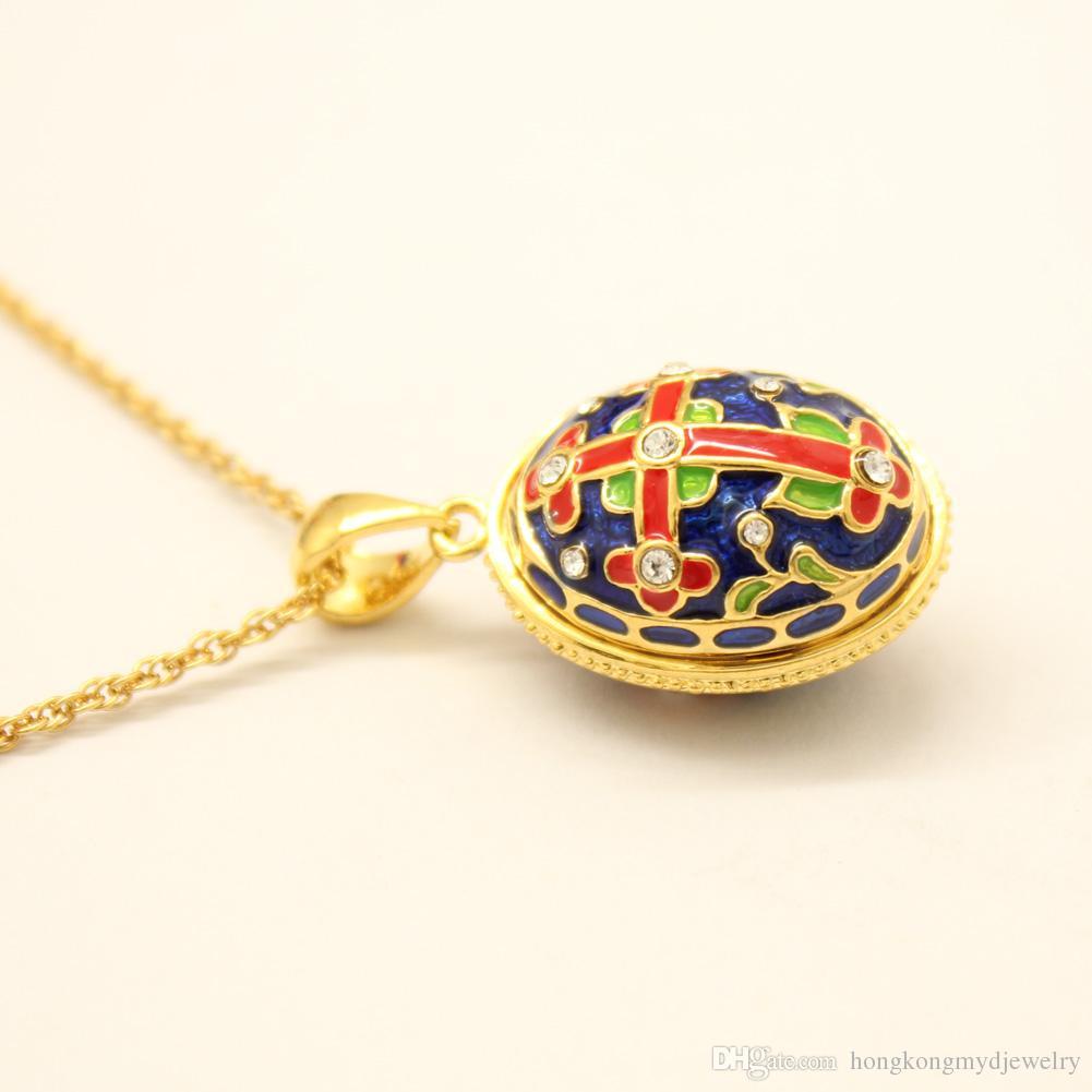 Locket d'argento di Faberge dell'uccello del rivestimento dell'argento di fascino dello smalto la collana europea del regalo degli amanti di modo di stile russo