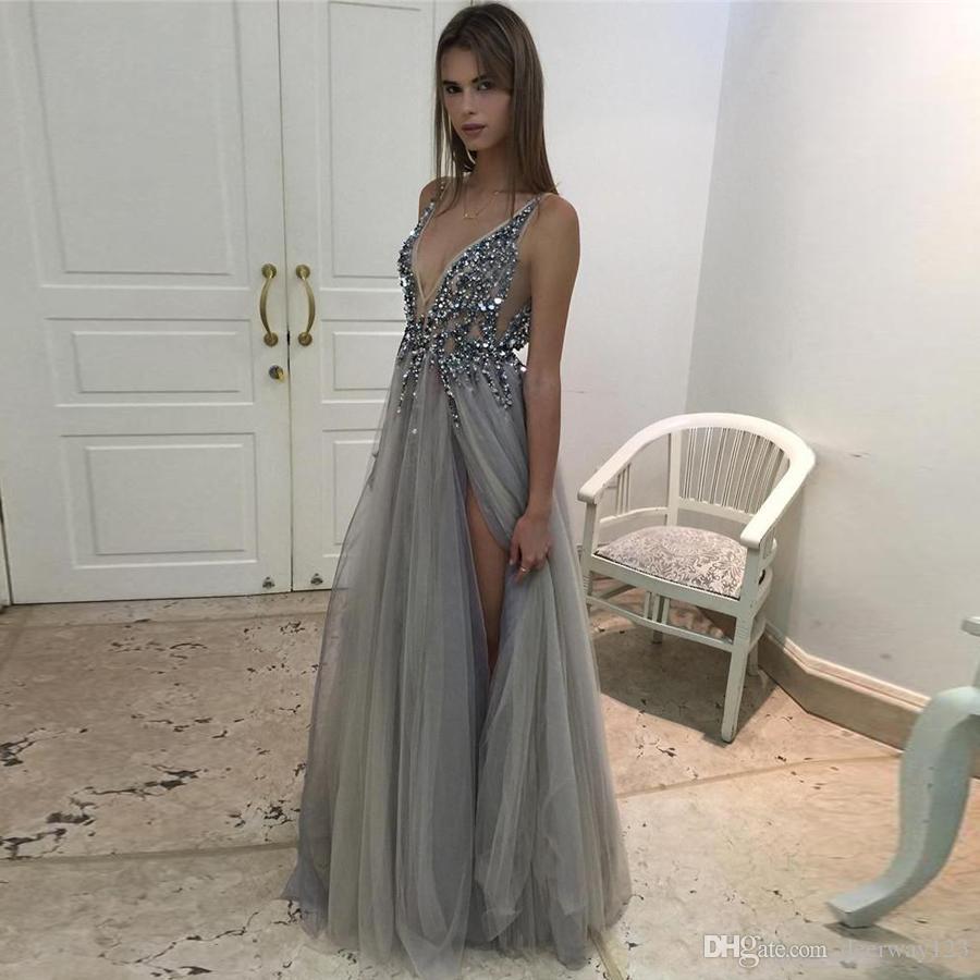 2020 Heiß Split Abendkleider Eintauchender Halsausschnitt Kristall Prom Kleider Sonderanfertigte Tüll Abend Party Kleid Echte Bilder