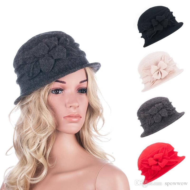 1e3a412f Womens Gatsby 1920s Style Retro Winter Warm Wool Beret Beanie Bucket Floral  Casual Stylish Hat A281 Wool Beanie Hat Winter Warm Floral Hat Gatsby 1920s  ...