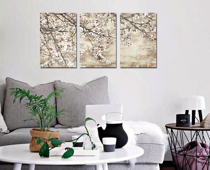 Estilo japão retro flor para sala de estar decoração flor de pêssego canvas impresso pintura de parede pendurado home decor unframed