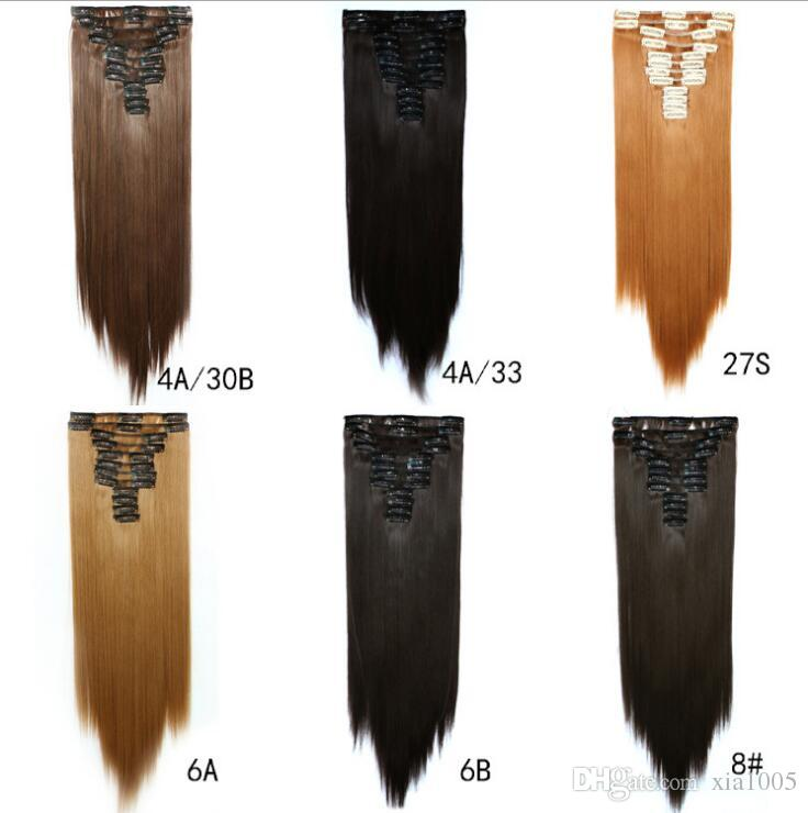 24inch 150g Straight Hair Piece Clips In False Hair Styling