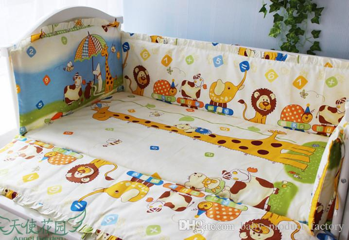 Promotion! crib bumper for baby cot sets baby bedding set curtain baby bed bumper ,include4bumpers+sheet+pillowcase