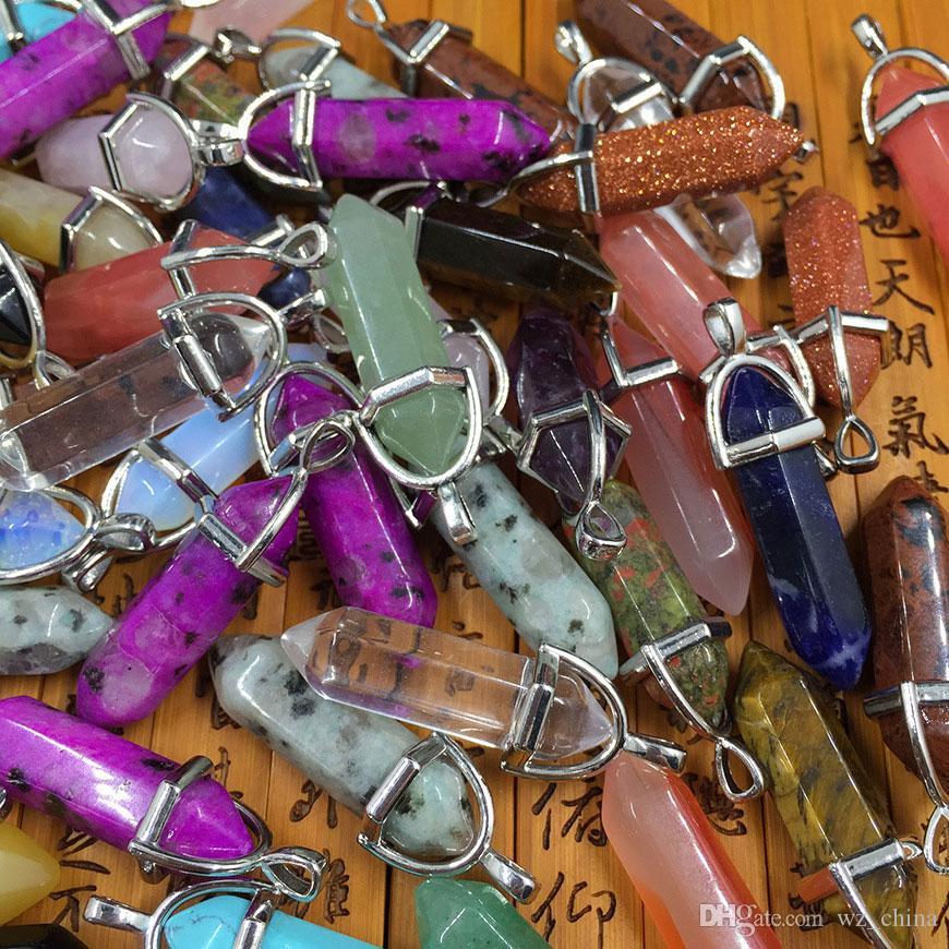 Collar de punto de cristal Gemas mixtos naturales Piedras Hexagonal Cristal puntiagudo Reiki Chakra Collares Pendientes Pendientes Colgante Beads Joyería Haciendo 500p