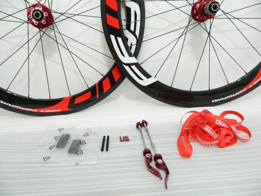 Nueva Ffwd 60mm Ruedas de Bicicleta Fast Forward 700c Red Carbon Fiber Road Bike Racing Ruedas Clincher Tubular