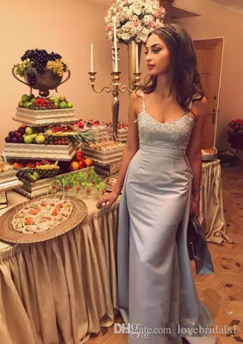 2018 Mermaid Spaghetti Straps Evening Dresses Overskirt Arabic Formal with Lace Appliques vestidos festa Custom Made Satin Prom Party Gown