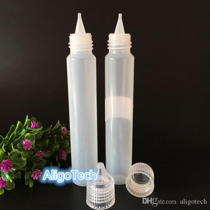 Großhandels15ml 30ml 50ml leeren Plastik-PET-Stift-Form-Flaschen-lange Tropfflaschen mit Kristalldeckel-breiter Mund-Spitze für E-Zigarette