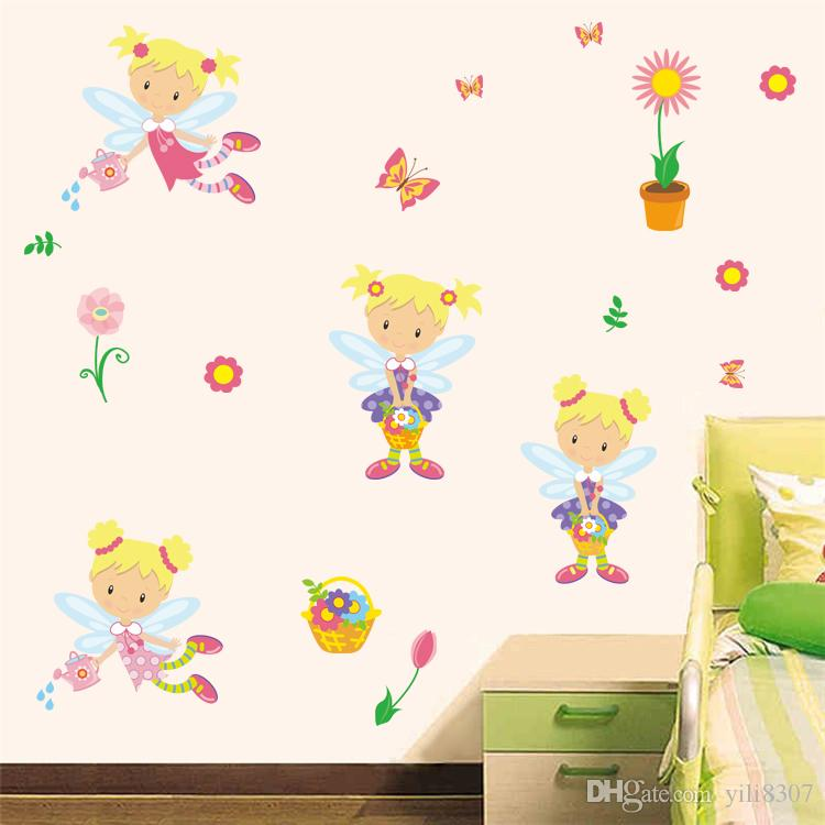 Cartoon Sun flower fairy elf girl DIY Generic Decal Wall Sticker Kids Room Decor Mural living room vinyl Inspiration