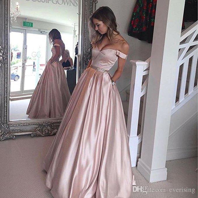 Modabelle Robe De Soiree Long Evening Dresses 2018 Sexy Off The Shoulder V  Neck Prom Dress Evening Gown With Belt Vestido De Festa One Shoulder Evening  ... 8c8125643338