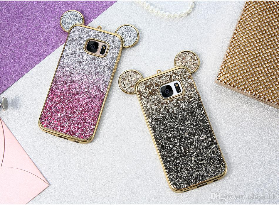 3d ear bling phone case para samsung galaxy s6 s7 edge cobrir colorido gradiente glitter capa para samsung galaxy s8 além de bonito case