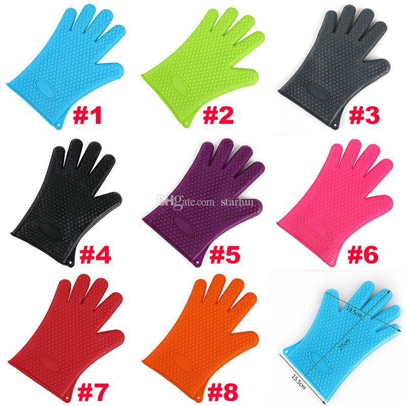 Neue Silikon BBQ Handschuhe Anti Slip Hitzebeständige Mikrowelle Topf Backen Kochen Küche Werkzeug Fünf Finger Handschuhe WX9-11