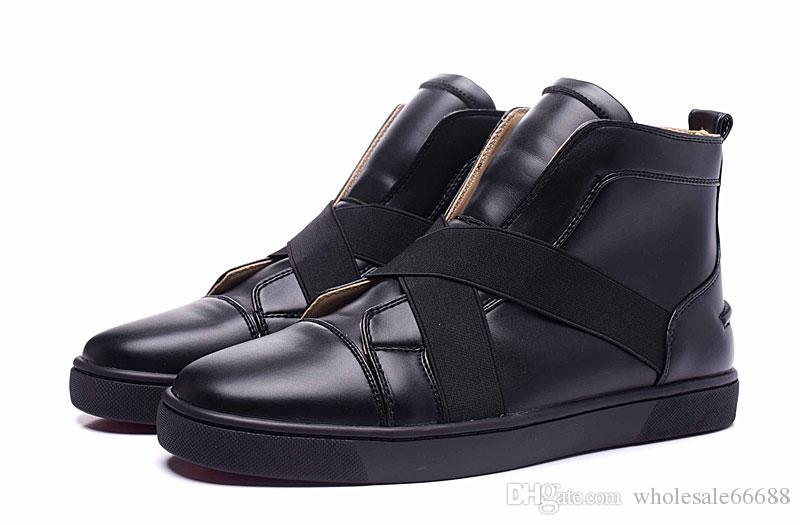 Acheter Nouvelle Marque Design Hommes Et Femmes  s Cuir Bas Rouge Haut Haut  Sneakers, Marque Croix Élastique Ceinture Causale Chaussures De Sport 36 46  De ... d9db424ecea