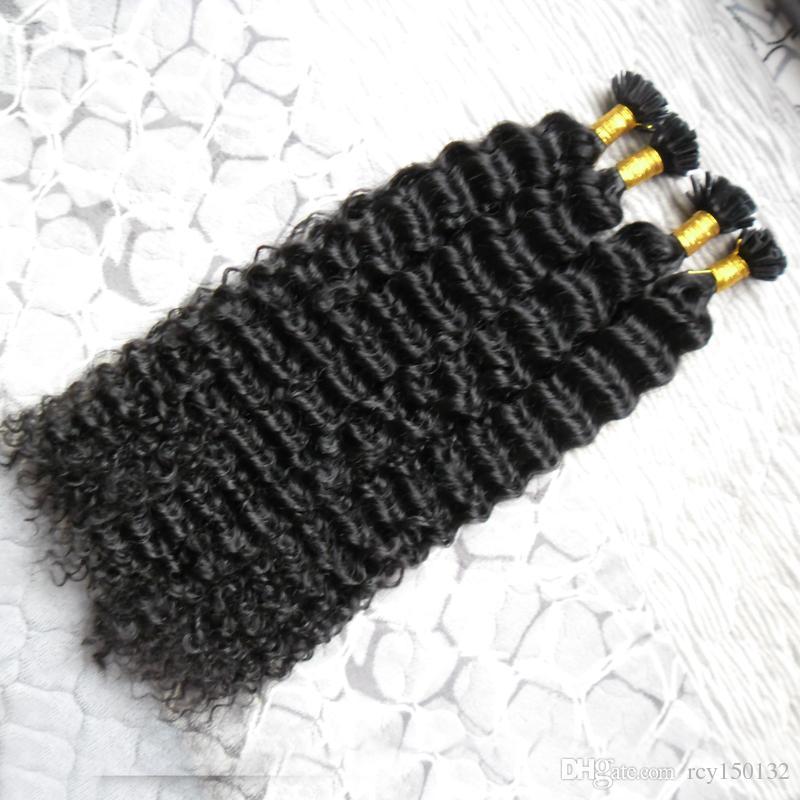 Mongol crespo cabelo encaracolado 200g Queratina Cabelo Fusão Humano prego U Ponta 100% Extensões de cabelo humano Remy