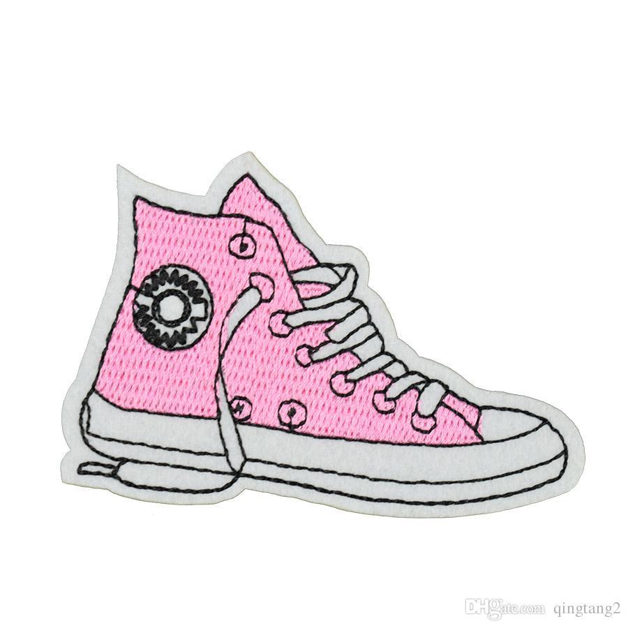 10 UNIDS zapatos de tela parches de bordado para la ropa parche de hierro para apliques de tela accesorios de costura pegatinas insignia en la ropa de hierro en parches
