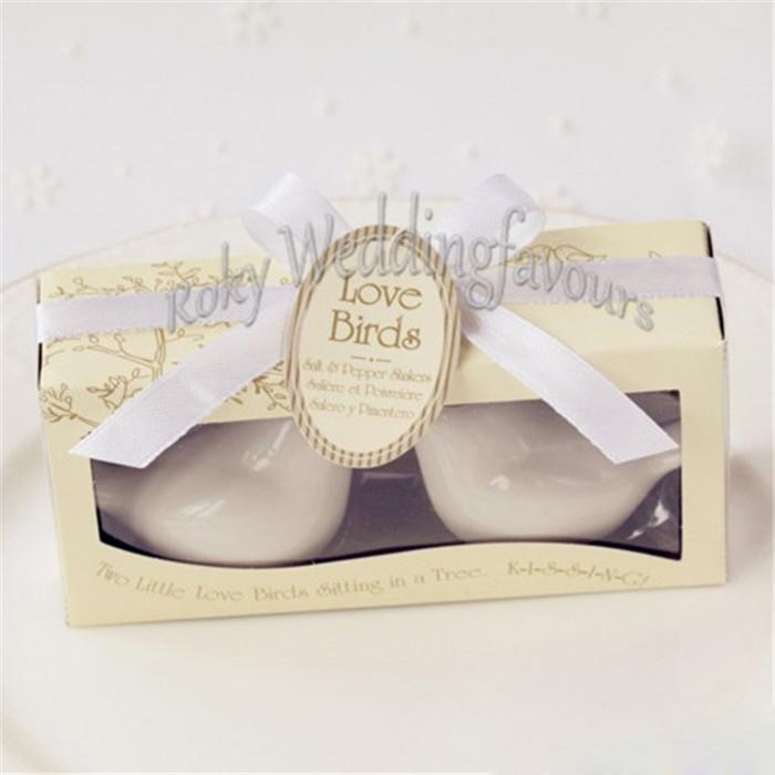 DHL Love Birds Salt and Pepper Shaker with Ribbon Tag Wedding Favors Anniversary Keepsake Event Presents Party Gifts