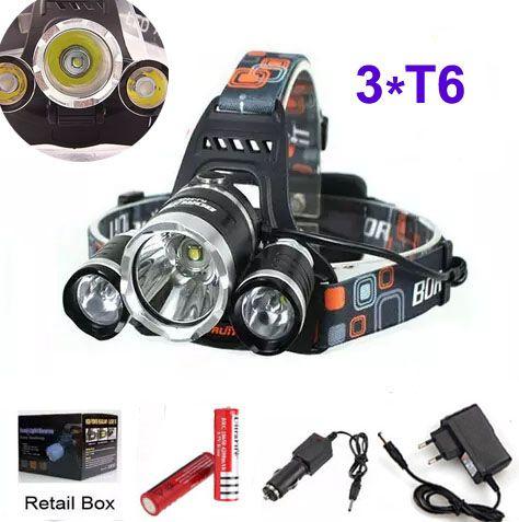3t6 Headlamp 6000 Lumens 3 X Cree Xm L T6 Head Lamp High Power Led