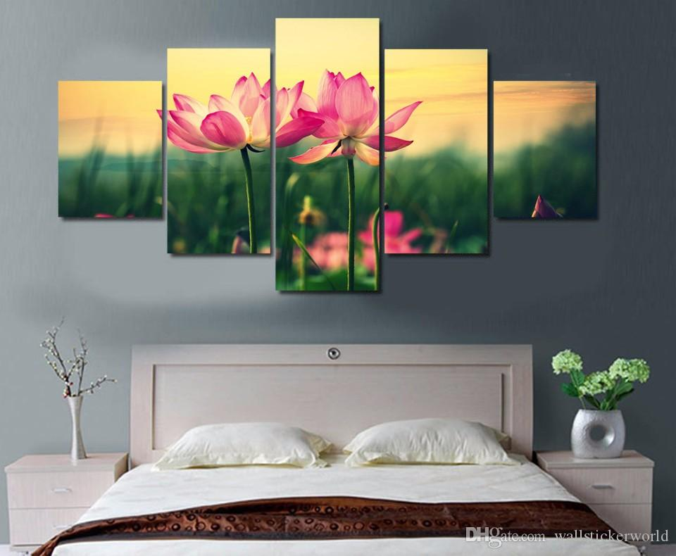 Framed Printed Pink Lotus Flowers At Sunset Painting Canvas Print room decor print poster picture canvas /NY-5730