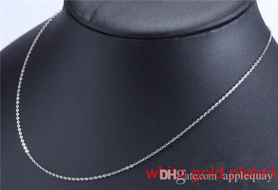 925 silver necklaces diy pendant sterling silver woman jewelry cross chain white gold shiny gold rose thin fashion extend chains 40+5cm