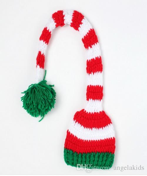новорожденный крючком фотографии Рождество Hat ручной вязать крючком детские ноги установить детские длинный хвост полосатый Hat новорожденных фотографии опора