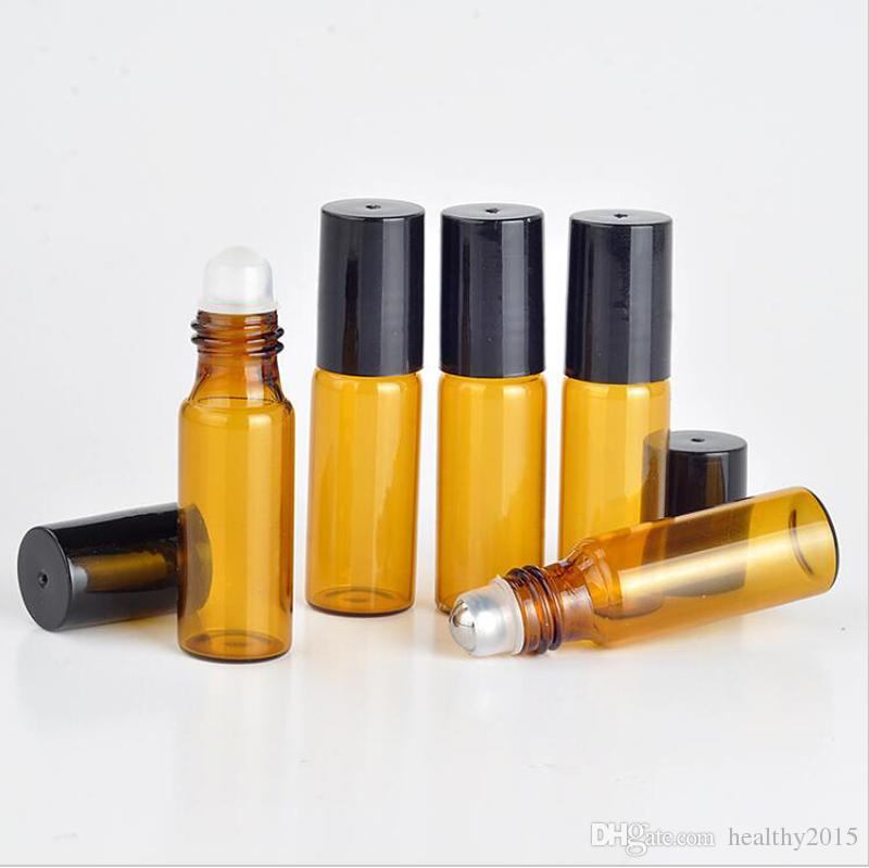 Wholesale- 5ml Thick AMBER Glass Roll On Bottles Empty Glass Sample Essential Oil Perfume Bottles With Metal /Glass Roller Ball BY DHL