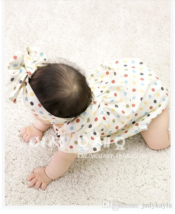 2016 småbarn baby rompers spädbarn pojkar tjejer färgglada polka dots romer med huvudband nyfödda barn sommar kortärmad jumpsuits 4st /