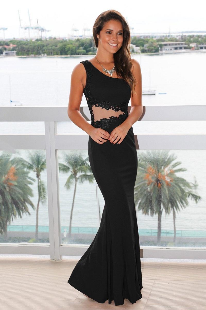 Elegant women prom dress sexy party dress full length vintage one-shoulder half clear waist empire lady clothes OL-8806