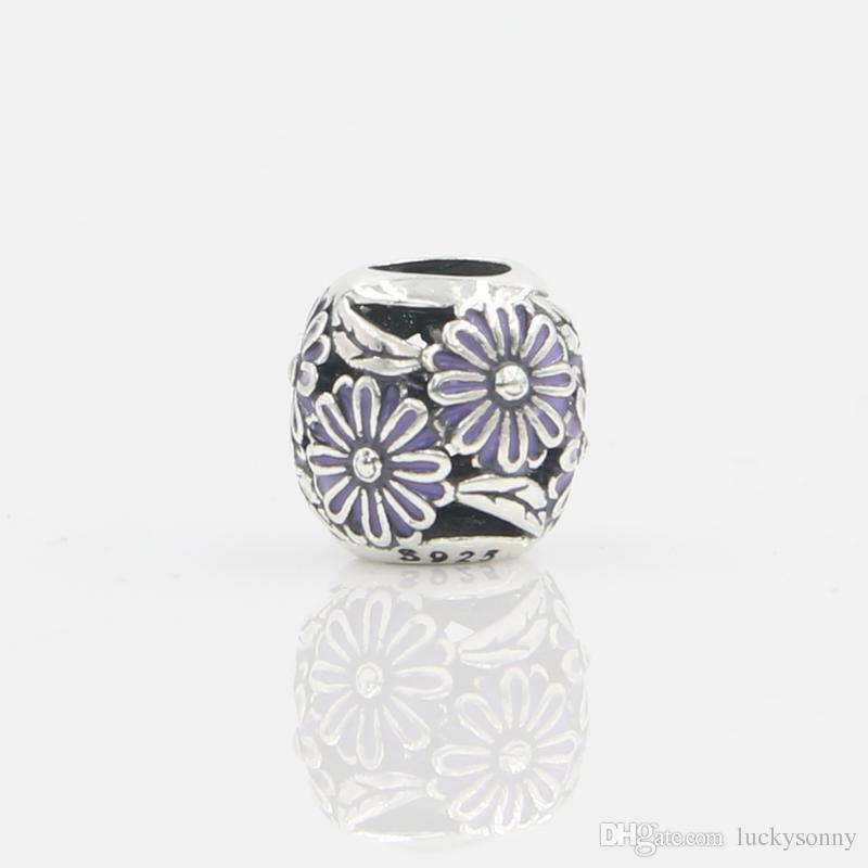 Оптовая новая мода цветок эмаль круглые бусины кулон Шарм стерлингового серебра 925 Европейский подвески шарик Fit змея цепи браслет DIY ювелирных изделий