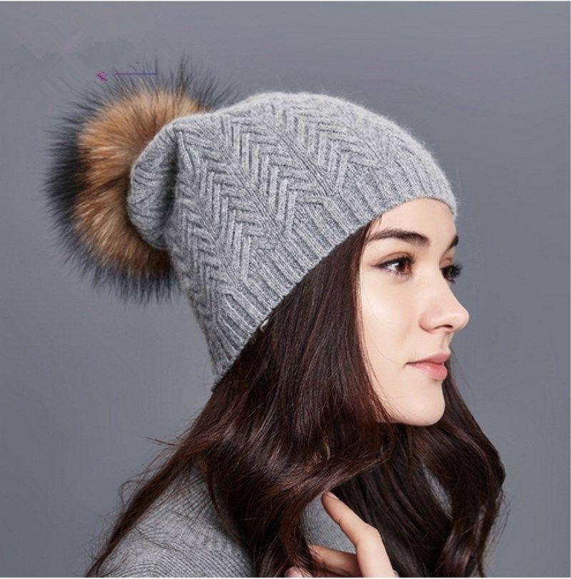 ed9d14c37af LUCKYFUR Women Winter Hats Real Raccoon Fur Pom Pom Hat Female Wool Knitted Hat  Girl Skullies Beanies Warm Gravity Falls Cap Stocking Cap Baby Sun Hat From  ...