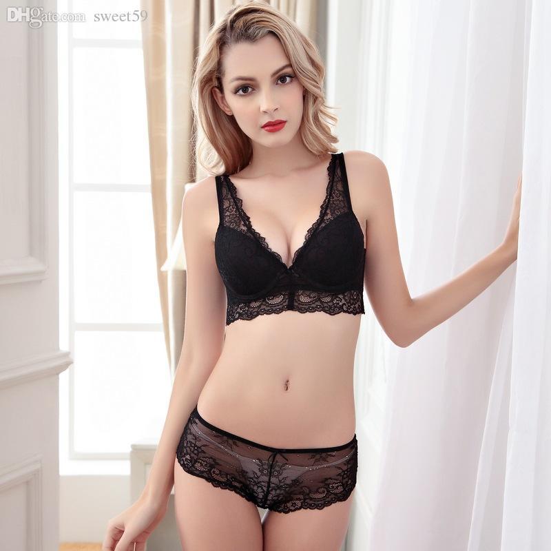 84f710666cf40 Wholesale-hot Women Plus Size Push Up Lace Bra Sets Sexy V -Neck ...