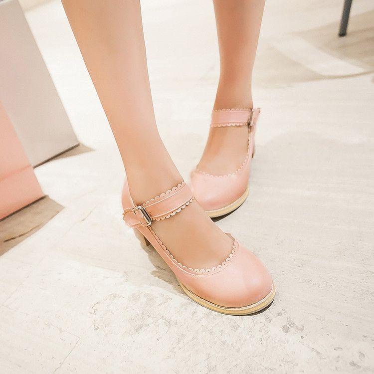 Una nueva niña de primavera dulce princesa fresca todo coincidencia zapatos de tacón alto hebilla de zapatos de tacón alto con grueso