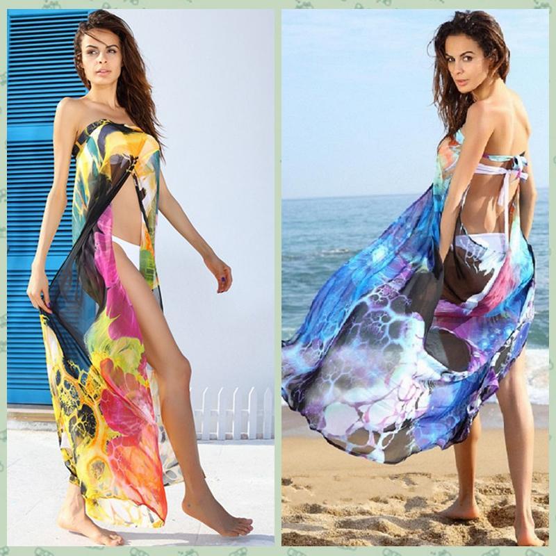 6b9de471e5a440 2019 2016 Sexy Women Bikini Cover Up Floral Print Split Front Self Tie  Strap Backless Swimwear Beach Maxi Dress Yellow Blue GS005 From Infine2, ...