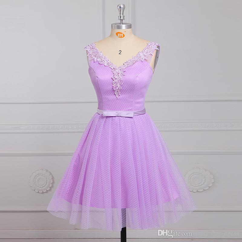 3db0f5a7c64 Hot Selling Short Light Purple Homecoming Dresses Sleeveless V Neck Bow  Belt Lace Tulle Prom Gowns Lace Up Back Custom Made Sale On Dresses Semi  Formal ...
