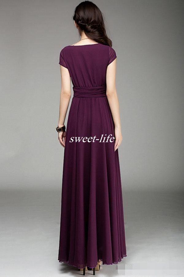 Plum V Neck Short Sleeve Long Chiffon Bridesmaid Dresses Ruffle Elegant A Line Prom Dresses 2016 Floor Length Burgundy Wedding Party Dress