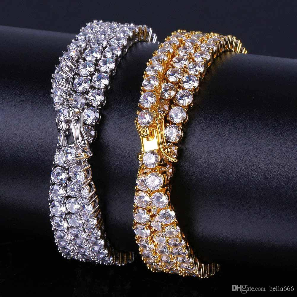 4MM Gold silver Color Hip Hop Cubic Zirconia Necklace Top Quality Paved Tennis Bling CZ Stones Necklaces Men Women Jewelry Gift 20''24''