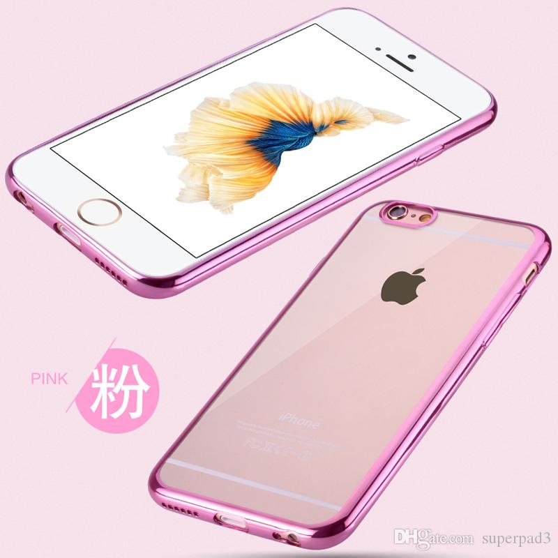 TPU Plating frame cover black silver pink gold color case for iphone 6 ultra-thin anti-fingerprints Comprehensive protective cover
