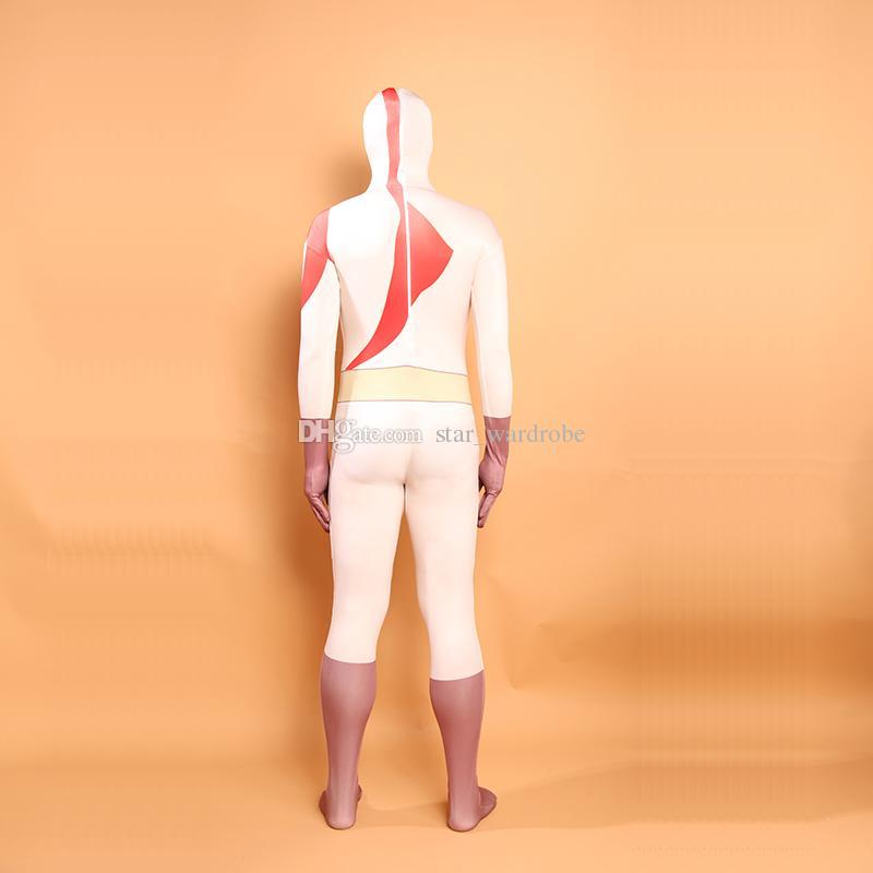 White Deedpool Cosplay Costumes Unitard Lycra Spandex Full Body Zentai Catsuit For Halloween