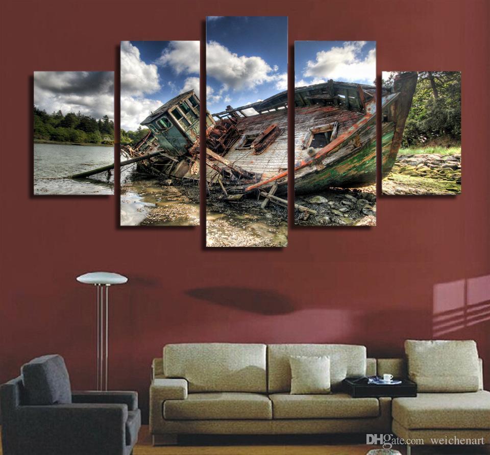 5 Paneli HD Baskılı Serin balıkçı teknesi Tuval Odası Dekor Poster Resim Tuval Duvar Boyama Baskı Baskı Boyama