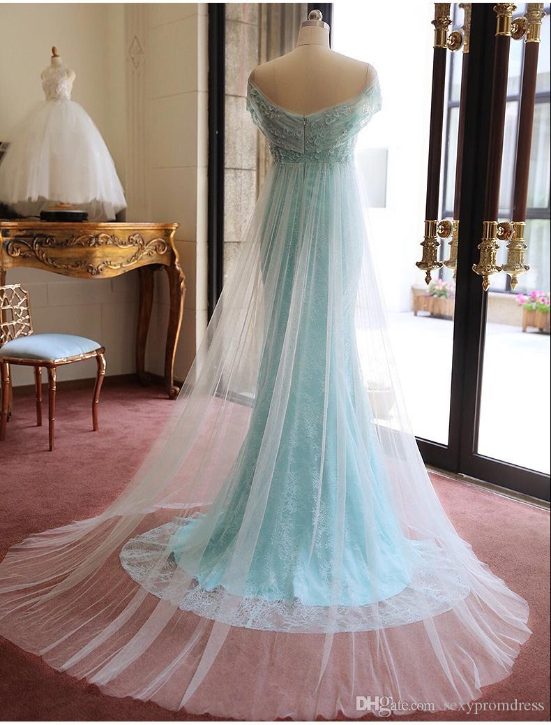 Hellblau Schulterfrei Brautkleider Weiche Tüll Abdeckung Spitze Applique Perlen Abendkleider Sexy Backless Sweep Zug Formale Party Kleider