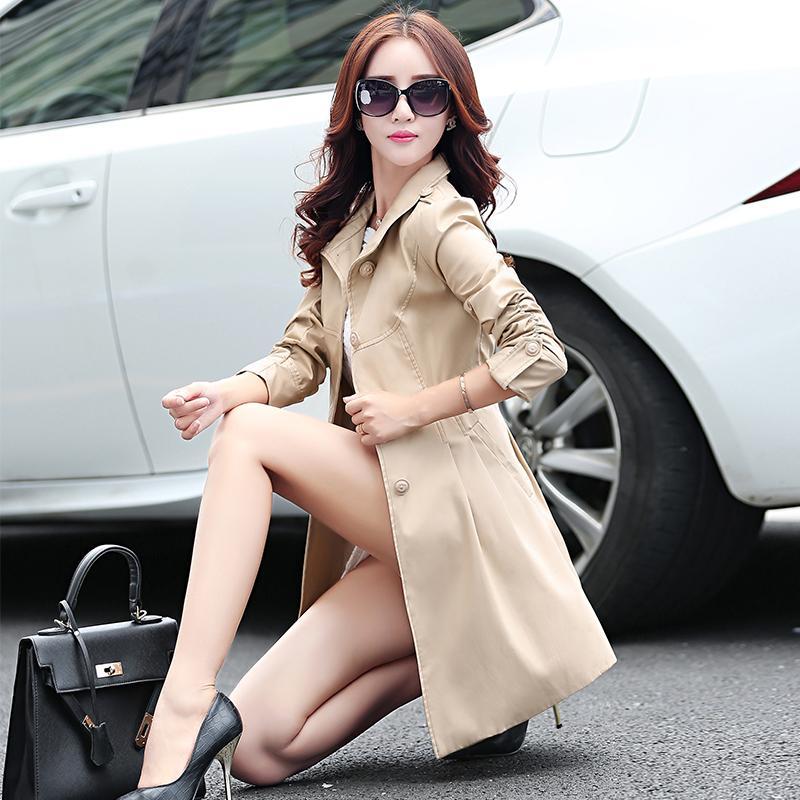 عالية الجودة ربيع المرأة خندق معطف الإناث الأزياء طويلة غمد واقية النساء الوظيفي windcheater المعطف QY13030618