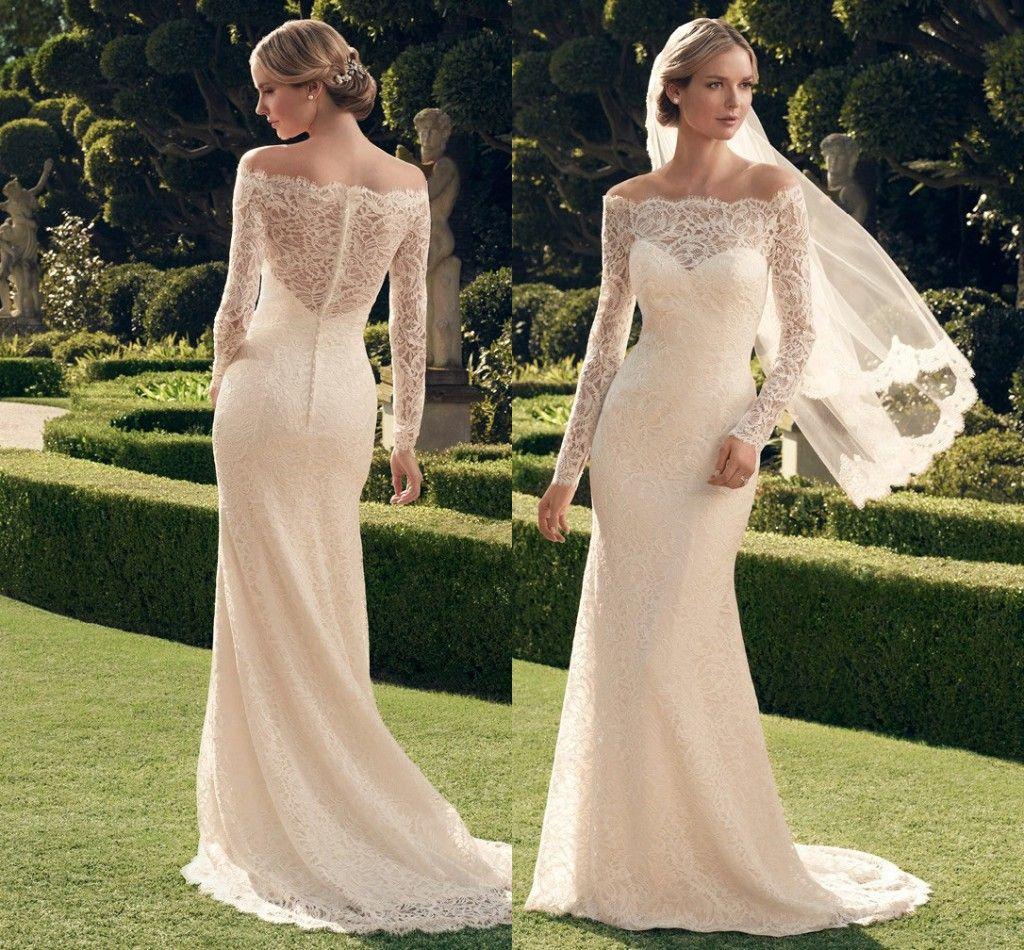 Vestido novia manga larga cr