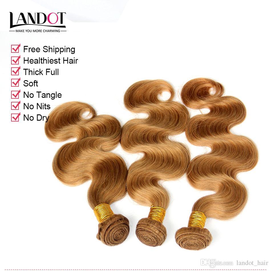 Bal Sarışın Hint Vücut Dalga Virgin İnsan Saç Uzantıları Renk 27 Hint Saç 3 adet Hint Dalgalı Saç Örgü Demetleri Çift çizilmiş Atkı