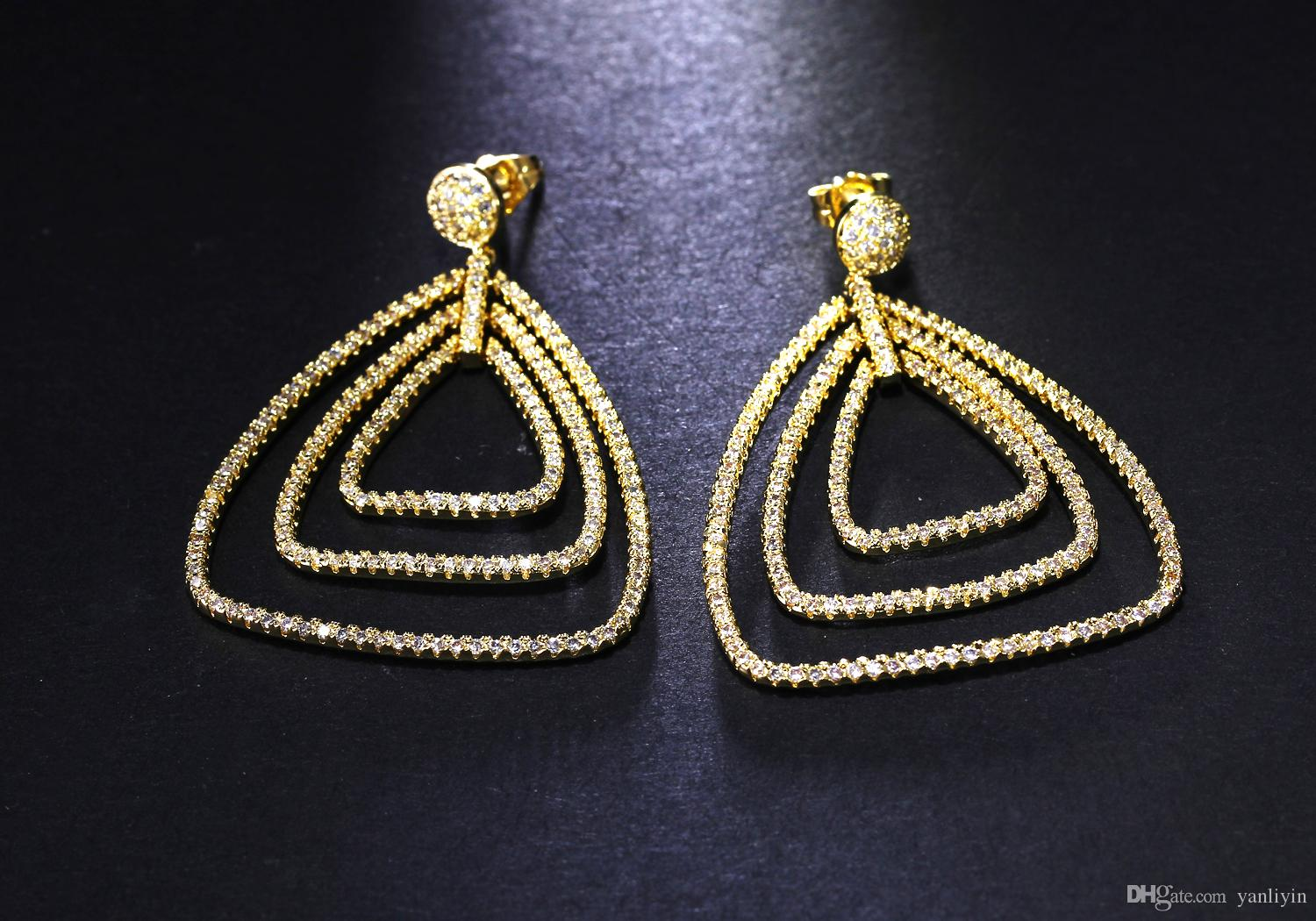 Remarkably! Gold plate With All White Small Cubic Zirconia,Triangle Shape Dangling Earrings