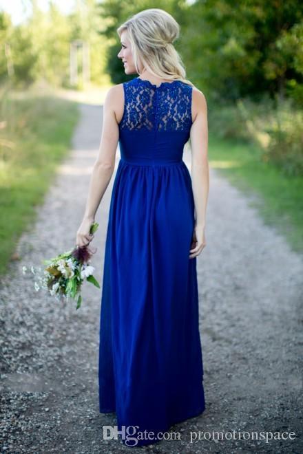 Abito da damigella d'onore in chiffon di pizzo blu royal vintage Abiti da cerimonia adulti lunghi gli ospiti di nozze Abiti da damigella d'onore in stile country 2016