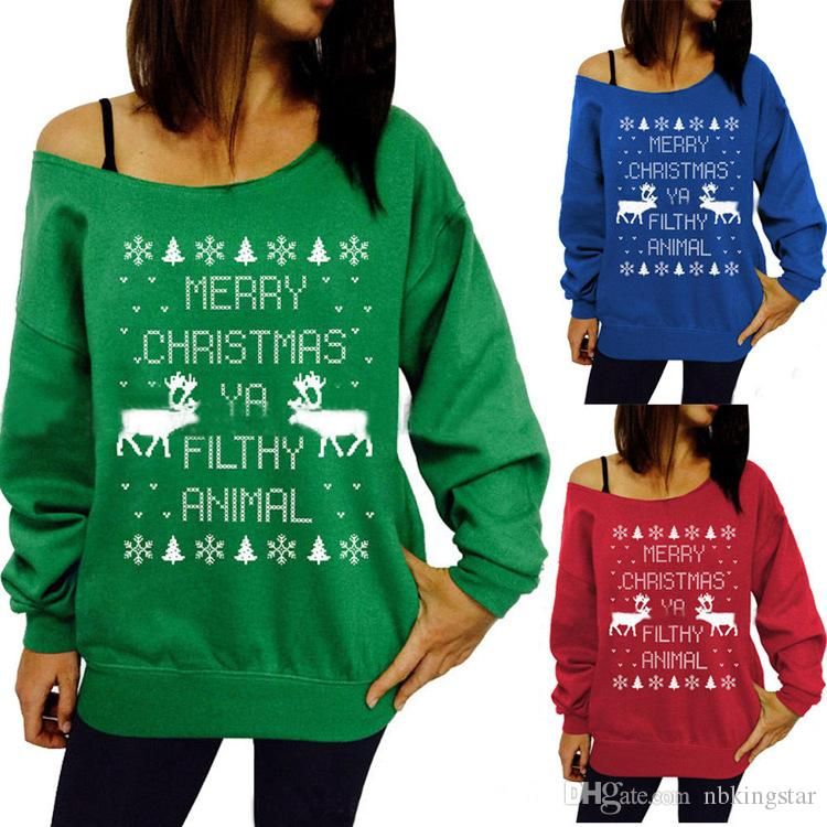 09e3d812a53 2019 Women Xmas Animal Christmas Print Off Shoulder Jumper Shirts Hoodies  Long Sleeve Sweater Sweatshirt Pullover Christmas Party Tops Blouse From ...