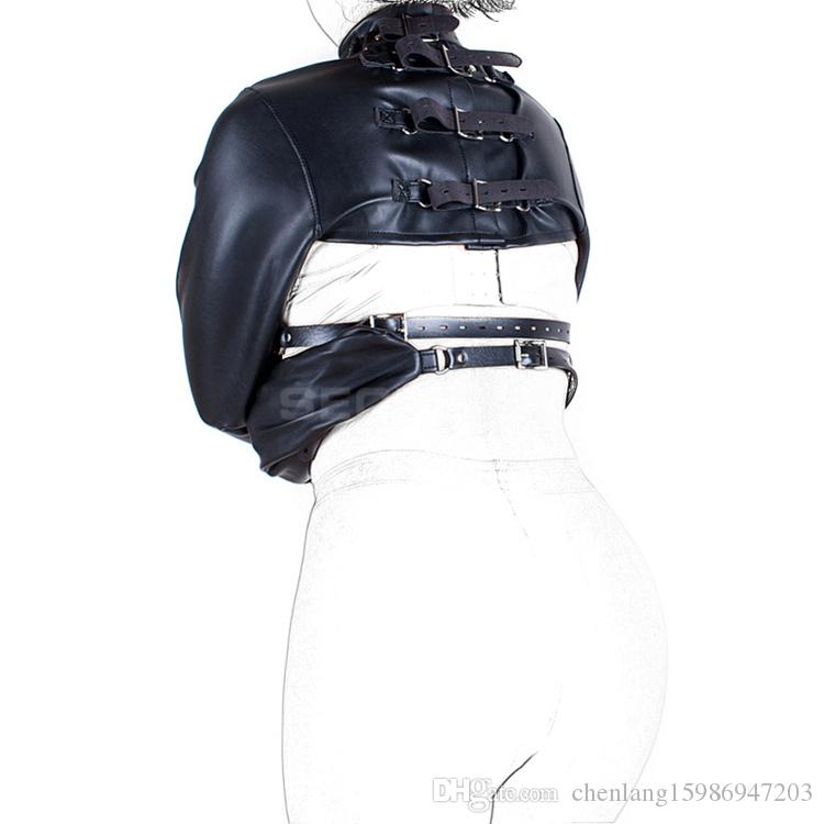 BDSM Leather Adjustable High Neck Collar & Arms Lockable Leather Breast Harness Cup-less Chest Holder Cosplay